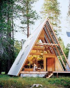 AFRAME EXTERIORS // LASSO ABODE A Frame House Plans, A Frame Cabin, Future House, Triangle House, Modern Small House Design, Wood House Design, Cabins And Cottages, Cabin Homes, House In The Woods
