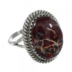 Sterling Silver Jasper Navajo Ring www.nativeamericanjewelry.com