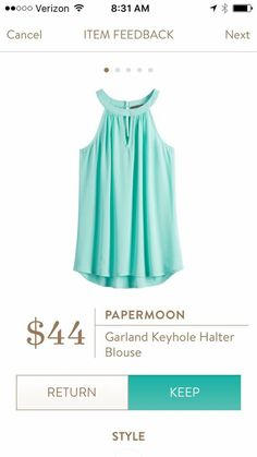 Papermoon Garland Keyhole Halter Blouse Stitch Fix