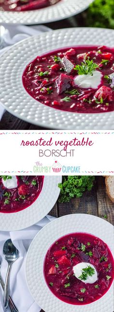 Borscht, a traditional sweet and sour Ukrainian beet soup, is enhanced with roasted vegetables, caramelized onions and leeks, all wrapped up in a brightly-colored broth - incredibly healthy and tasty to boot!