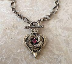 Necklace - Diamonds and Ruby Rose Heart by Roman Paul #romanpaul