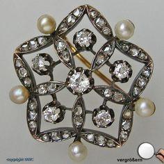 Diamantbrosche Brillantbrosche 18kt 750 Perlenbrosche Diamant Perle Brillant !