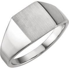 14kt White Signet Ring