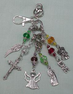 Religious, Handbag Accessory, Purse Charm, Backpack Dangle, Keyring Keychain Bling, Zipper Pull, Handmade Beaded Gift 80HBC15 by CatchingAngels on Etsy