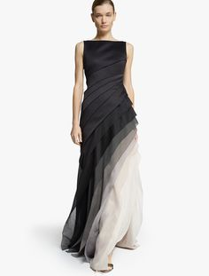 Halston Ombre Voile Satin Gown in Black (Black Vapor)   Lyst