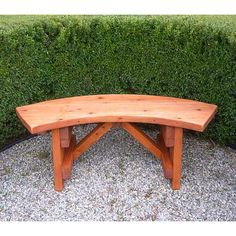 DIY Patio Benches | Redwood Outdoor Curved Bench | Benches, Wooden Benches