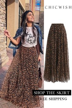 Leopard Watercolor Maxi Skirt - outfits - New Hair Styles Mode Outfits, Fashion Outfits, Womens Fashion, Fashion Shoes, Casual Skirt Outfits, Fashion Days, Miami Fashion, 70s Fashion, French Fashion