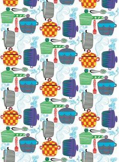 Kattila fabric (multicolour) | Fabrics, Linens | Marimekko