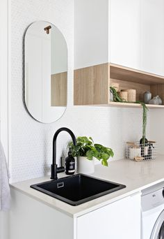The main bathroom of my Church St project featuring the biggest wall of Kit Kat tiles you ever did see 😍 Ok it's that time again when I… Laundry Decor, Laundry Room Design, Laundry In Bathroom, Laundry Shelves, Home Interior, Interior Design Living Room, Living Room Designs, Laundry Powder, Modern Laundry Rooms