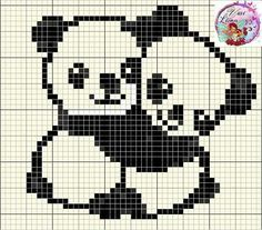 Bear panda cross stitch.