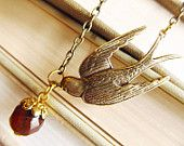 Antique Swallow Charm Necklace-Dark Amber Glass Bead-Gold Plated Cap Antique chain (GREAT GIFT)