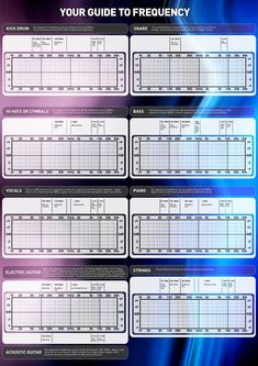 This is a frequency chart for Kick Drum, Snare, Hi Hats, Cymbals, Bass, Vocals, Piano, Electric Guitar, & Strings. Just gives you an idea of...