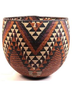Africa | Large bowl ~ Iqoma ~ from the Zulu people of South Africa | Ilala palm; tightly woven coil stitched basket
