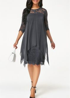best=Three Quarter Sleeve Chiffon Overlay Navy Lace Dress , from the ever-popular high-low prom dresses, to fun and flirty short prom dresses and elegant long prom gowns. Women's Fashion Dresses, Women's Dresses, Dresses Online, Casual Dresses, Chiffon Dresses, Girl Fashion, Chiffon Cardigan, Bride Dresses, Trendy Dresses