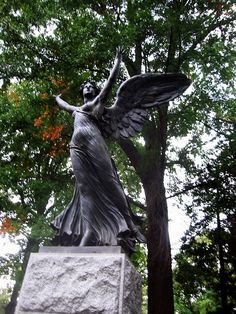 Grieving Angel metal Cemetery statue wings 120-2020 IMG by Brechtbug, via Flickr
