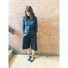 Denim and leather for work... My favourite culottes and my favourite trusted denim shirt, I have had so much wear out of both of these #asseenontheblog #shelleyloves #fashion #fblogger #fashionblog #womensfashion #womensstyle #womensblog #styleblogger #styleblog #style #whatimwearing #wiwt #wiwt #ootd #outfitoftheday #outfitofchoice #lotd #leather #denim #LookOfTheDay #mumblog #mumstyle #mamastyle #mumblogger #Topshop #Topshopstyle