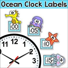 Ocean Theme Clock Labels & Worksheets - These fun telling time Ocean / Under…