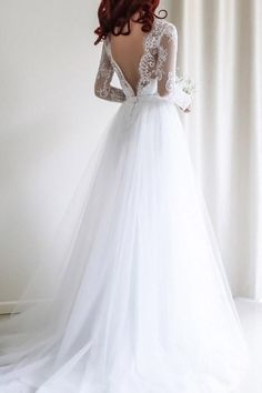 Elegant A-line Long Sleeves White Lace Wedding Dress Bridal Gowns WD112