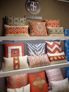 Elaine Smith indoor/outdoor pillows we love & Kole Interior Designs! Indoor Outdoor Pillows, Baby Pillows, Outdoor Pillows, Store Interiors, Custom Cushions, Personalized Decorative Pillow, Pillows, Custom Pillows, Decorative Pillows