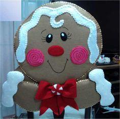 Patrones De Cubre Sillas Navidenos, Hazlo Tu Misma Gingerbread Crafts, Gingerbread Village, Snowman Crafts, Christmas Gingerbread, Felt Crafts, Christmas Clay, Christmas Snowman, All Things Christmas, Christmas Time