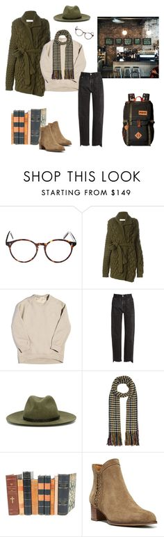 """""""Coffee and Books"""" by anataliaf ❤ liked on Polyvore featuring Cutler and Gross, A.F. Vandevorst, Balenciaga, Vetements, rag & bone, Isabel Marant, Decorative Leather Books, Franco Sarto and JanSport"""