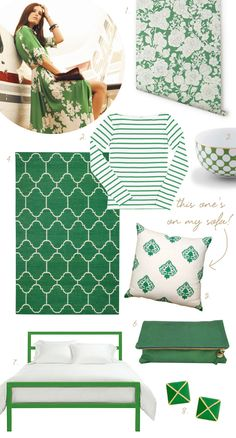 Capel Serpentine Green Wool Rug as seen on... coco kelley | just love the color coordinated white n green, it's so me