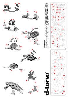 Turtle 127_red d-torso paper craft by Aki Co.,Ltd.