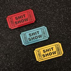 Shit Show Ticket Enamel Pin by Mood Poison - Red (Enamel/Stick Back Pins). Shit Show Ticket Enamel Pin by Mood Poison Welcome to the Shit Show - take your ticket and enjoy the ride! long soft enamel pin on black dyed metal. Crazy Ex Girlfriends, Jacket Pins, Squad, Cool Pins, Pin And Patches, Metal Pins, Pin Badges, Lapel Pins, Pin Collection