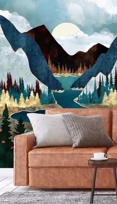 Adorn this beautiful abstract landscape mural on the wall in your living room for a dark and dramatic statement. Place behind a cosy, brown, leather couch and style with tonal grey cushions to contrast. Add black metal and wooden furniture throughout the room for a modern industrial look that mirrors the natural textures of the outside world. If you want more colour, pick out the navy and turquoise tones in the mural and incorporate these into your accessory choices! Shop now at Wallsauce.com! Landscape Wallpaper, Abstract Landscape, Gold Painted Walls, Blue Velvet Couch, Mountain Wallpaper, What's Your Style, Grey Cushions, Room Wallpaper, Modern Industrial