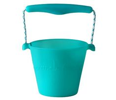Turkis scrunch bøtte i silikon Storage Buckets, Plastic Buckets, Beach Toys, Plant Holders, Keep It Cleaner, Turquoise, Teal, Outdoor, England