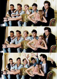 """In the first picture Niall's like """"my dreams have come true! and where do i put my hands?"""" In the second picture Harry's like """"dis girl on me ugh""""  in the last picture Liam and Louis are like """"oh we put our hands up?""""  hahahahha"""