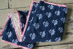 Baby Quilt For Sale  Modern Baby Quilt  Blue by QuirkyQuiltress