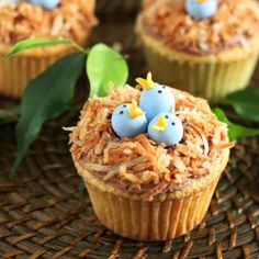Birds Nest Cupcakes - made with Vanilla Cupcakes and Chocolate Buttercream Frosting, perfect for Spring and Easter.