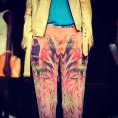Parrot print pants at Walter Baker presentation today #NYFW