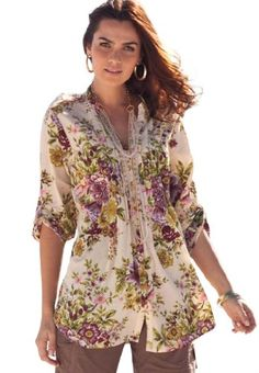 89279c9cd4 Roamans Plus Size English Floral Bigshirt
