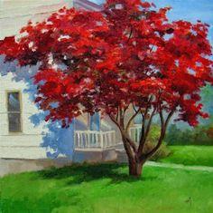 "Daily Paintworks - ""Red Maple"" - Original Fine Art for Sale - © Nel Jansen"