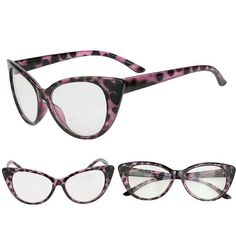 Women Fashion Glasses by House Of Shade Shop Women Purple Leopard Cat Eye Frame Fashion Glasses Clear Lens