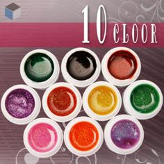 10pcs x 5ml each MIX GLITTER COLOURS UV GEL NAIL ART | eBay