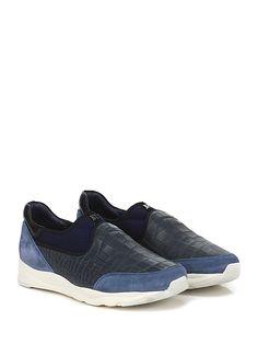 JOHN RICHMOND - Sneakers - Uomo - Sneaker in camoscio, pelle stampa coccodrillo e tessuto elasticizzato forato con suola in gomma, tacco 40, platform 25 con battuta 15. - BLU\PETROLIO - € 265.00