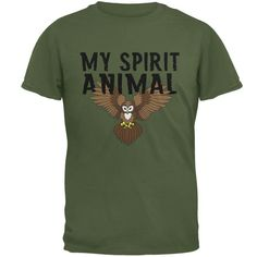 My Spirit Animal Owl Military Green Adult T-Shirt