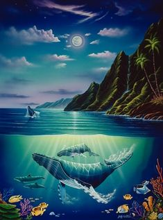 How To Get Started With Salt Water Fishing Dolphin Painting, Coral Painting, Dolphin Art, Underwater Painting, Turtle Painting, Wildlife Paintings, Seascape Paintings, Koi Fish Drawing, Captain America Wallpaper