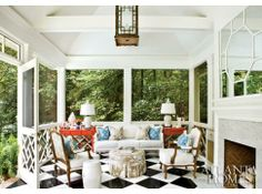Outdoor gazebo by the pool....love the big mirror over the fireplace..  Welcome Addition | Atlanta Homes & Lifestyles