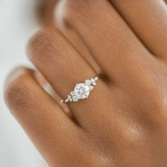 This engagement ring set was designed by Camellia Jewelry. This diamond engagement Ring is set with a ct. round cut natural diamond set on the top of camellia flower . To achieve this stunning look, Weve created a matching diamond wedding band set in Dream Engagement Rings, Rose Gold Engagement, Engagement Ring Settings, Diamond Wedding Rings, Vintage Engagement Rings, Wedding Bands, Wedding Rings Simple, Round Wedding Rings, Vintage Diamond Rings