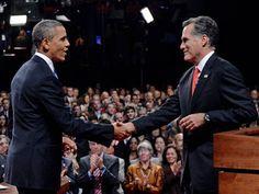 Obama en Romney, het moment dat Obama de verkiezingen won.  -Myrthe