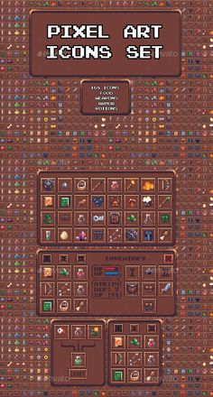 Buy Pixel Art Icon Set by SadBeaver on GraphicRiver. 168 icons with simple UI. – with inventory cell – without inventory cell. Sprites, Game Design, Icon Set, Pixel Art Games, Pixel Art Food, 2d Game Art, Pixel Characters, Pixel Animation, Game Assets