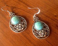 Pretty silver turquoise earrings