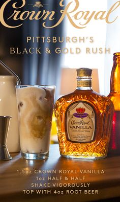 To mix up the Black & Gold Rush, pour oz Crown Royal Vanilla and 1 oz Half & Half into a pint glass filled with ice. Shake vigorously and top with 4 oz Root Beer. It's time to Crown Drink, Crown Royal Drinks, Fruity Cocktails, Cocktail Drinks, Keto Cocktails, Liquor Drinks, Bourbon Drinks, Beverages, Tequila