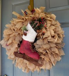 Burlap Christmas Wreath with Large Ice Skate by RedRobynLane
