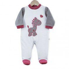 """Pijama """"Princesa y Rana"""" #pijama #bebe #niña #princesa #rana #blanco #gris #rosa #kinousses"""