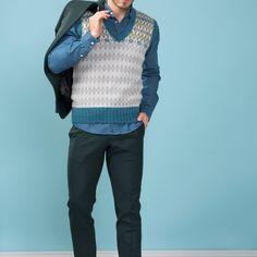 DG338-04 PAUL SLIPOVER | Dale Garn Modern Retro, Men Sweater, Sweaters, Design, Fashion, Threading, Moda, Fashion Styles, Sweater